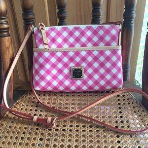 Dooney & Bourke pink gingham canvas crossbody bag